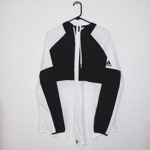 Adidas Black and White Windbreaker Zip up XL